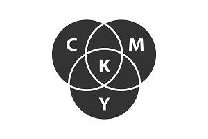 CMYK color circle model glyph icon