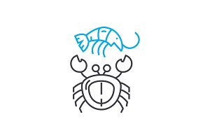 Seafood linear icon concept. Seafood line vector sign, symbol, illustration.