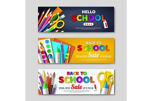 Back to school sale horizontal banners with 3d realistic school supplies and paper cut style letters. Poster for seasonal discount. Vector illustration.