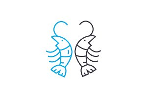 Shrimps linear icon concept. Shrimps line vector sign, symbol, illustration.