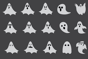 Halloween ghost vector set 15