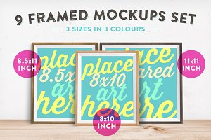 9 Framed Mockups Set
