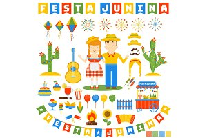 festa junina icons set