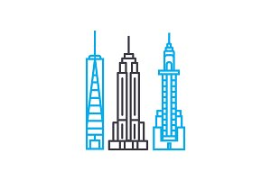 Skyscrapers linear icon concept. Skyscrapers line vector sign, symbol, illustration.