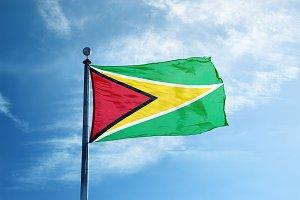 Guyana flag on the mast