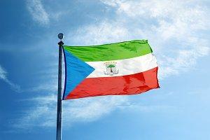 Equatorial Guinea flag on the mast