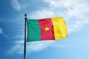 Cameroon flag on the mast