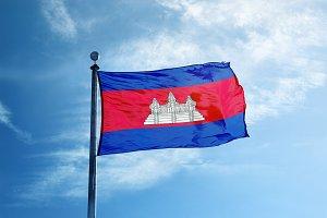 Cambodia flag on the mast