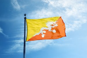 Bhutan flag on the mast