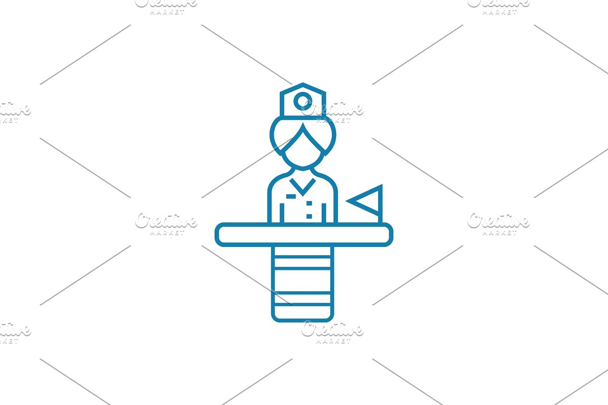 State employee linear icon concept. State employee line vector sign, symbol, illustration.