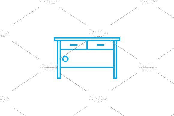 Stationery table linear icon concept. Stationery table line vector sign, symbol, illustration.