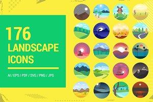 176 Flat Rounded Landscape Icons