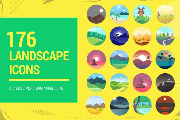 176 Flat Rounded Landscape Icons in Graphics