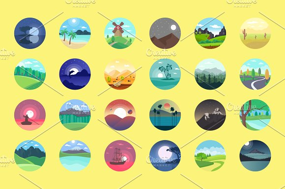 176 Flat Rounded Landscape Icons in Graphics - product preview 1