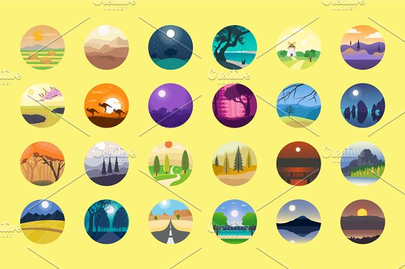 176 Flat Rounded Landscape Icons in Graphics - product preview 2