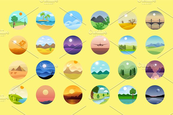 176 Flat Rounded Landscape Icons in Graphics - product preview 3