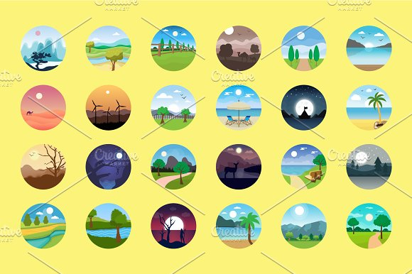 176 Flat Rounded Landscape Icons in Graphics - product preview 4