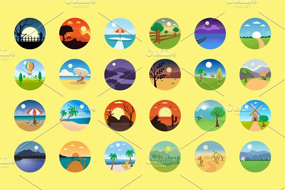 176 Flat Rounded Landscape Icons in Graphics - product preview 5