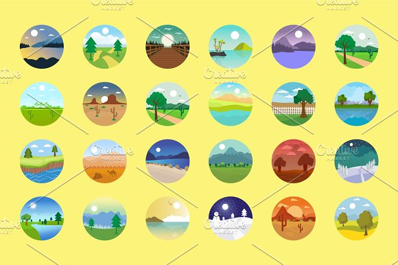 176 Flat Rounded Landscape Icons in Graphics - product preview 6