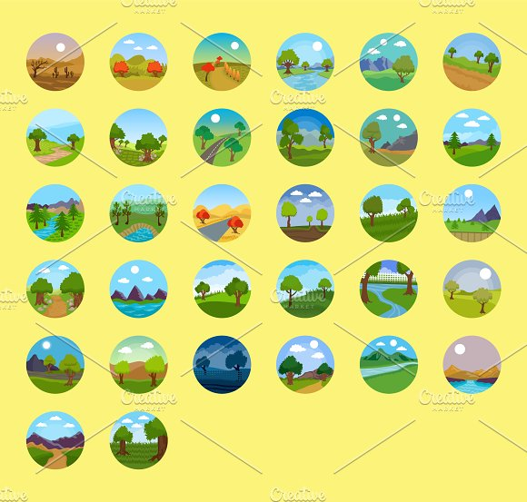 176 Flat Rounded Landscape Icons in Graphics - product preview 7