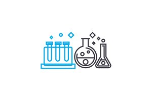 Study of chemistry linear icon concept. Study of chemistry line vector sign, symbol, illustration.