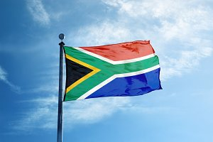 South Africa flag on the mast