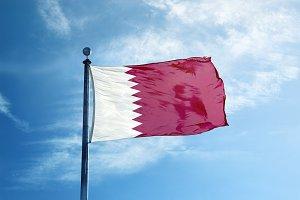 Qatar flag on the mast