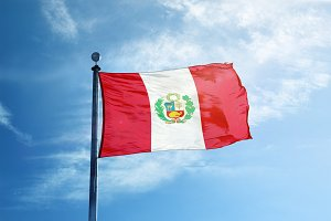 Peru flag on the mast
