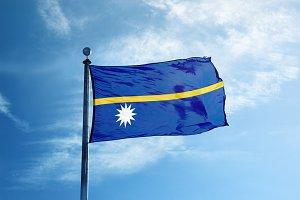 Nauru flag on the mast