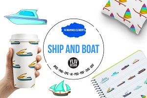 Ship and boat icons set, cartoon sty