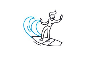 Surfing linear icon concept. Surfing line vector sign, symbol, illustration.