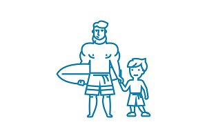 Surfing lessons linear icon concept. Surfing lessons line vector sign, symbol, illustration.
