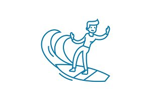 Surfing waves linear icon concept. Surfing waves line vector sign, symbol, illustration.