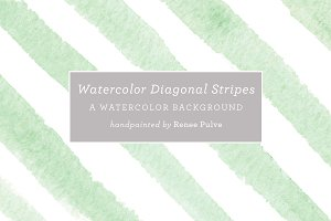 Watercolor Diagonal Stripes