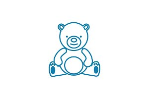 Teddy bear linear icon concept. Teddy bear line vector sign, symbol, illustration.