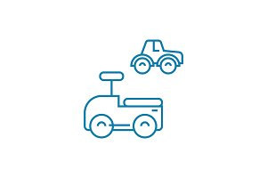 Toy cars linear icon concept. Toy cars line vector sign, symbol, illustration.