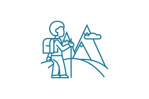 Trip to the mountains linear icon concept. Trip to the mountains line vector sign, symbol, illustration.