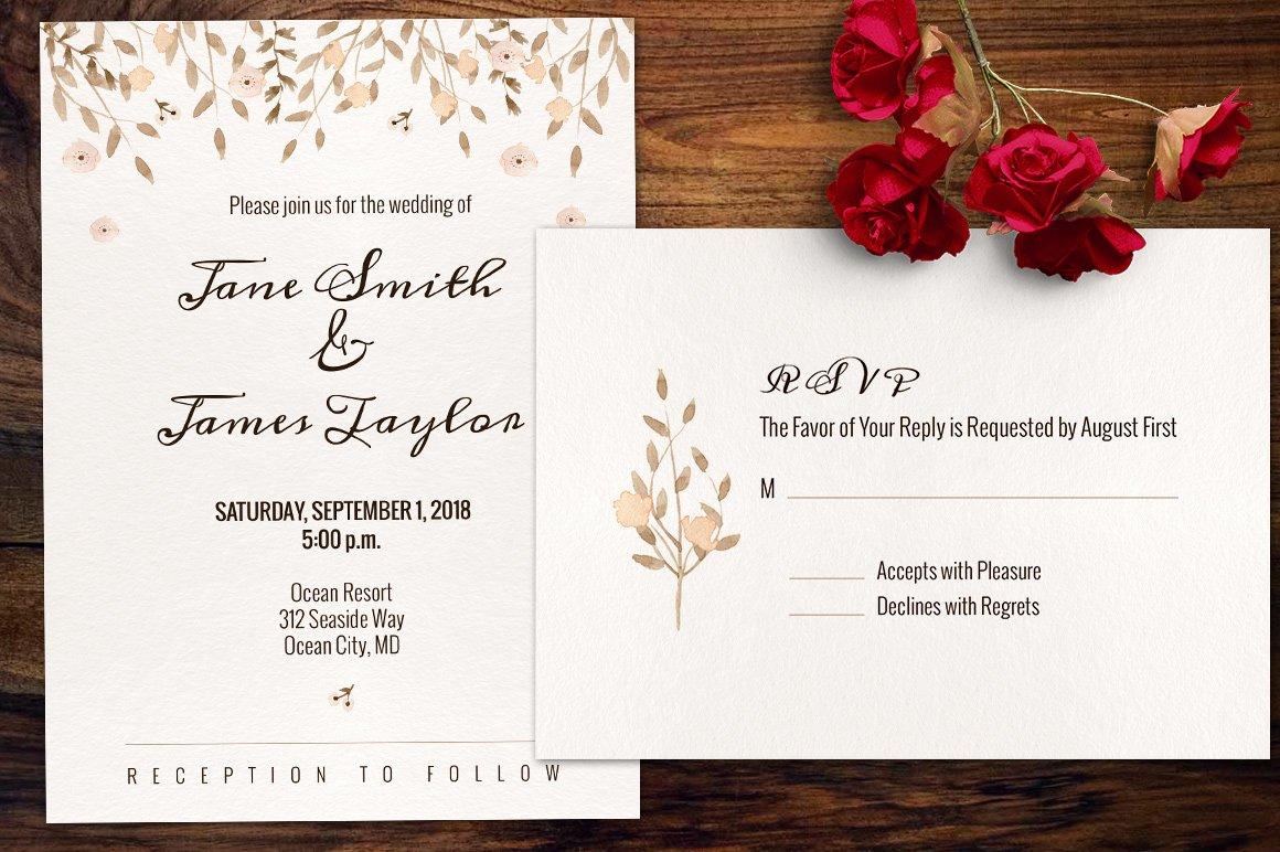 Watercolour Wedding Invitation ~ Invitation Templates ~ Creative Market
