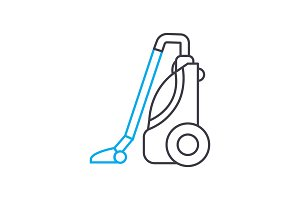 Vacuum cleaning linear icon concept. Vacuum cleaning line vector sign, symbol, illustration.