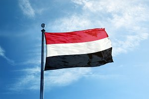 Yemen flag on the mast
