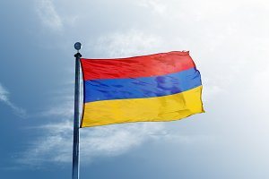 Armenia flag on the mast