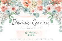 Blushing Greenery - Watercolor Set by Isabelle Salem in Illustrations