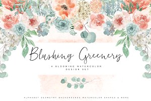Blushing Greenery - Watercolor Set