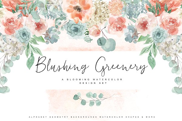 Illustrations and Illustration Products: OpiaDesigns - Blushing Greenery - Watercolor Set