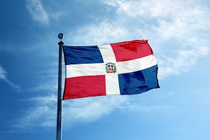 Dominican republic flag on the mast