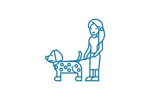 Walking with a dog linear icon concept. Walking with a dog line vector sign, symbol, illustration.