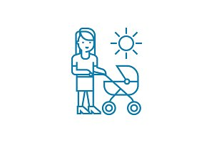 Walking with mom linear icon concept. Walking with mom line vector sign, symbol, illustration.