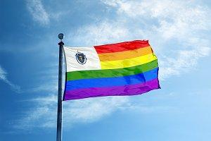 Massachusetts Rainbow flag