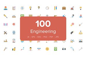 100 Engineering Flat Vector Icons