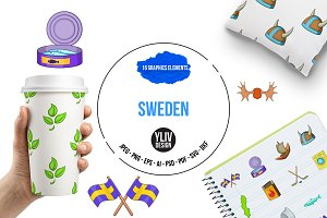 Sweden icons set, cartoon style
